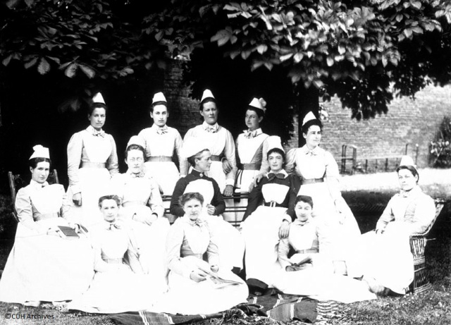 AHPH 1_1_32 Night Nurses with Miss Cureton (Matron) 1895